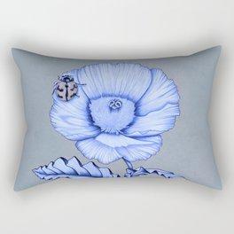 Poppy Anemone with Ladybug Rectangular Pillow