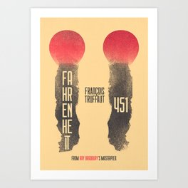 Fahrenheit 451, François Truffaut, french movie, british film, Ray Bradbury,  dystopian novel, book Art Print