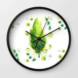 Green Feather Wall Clock