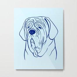 Neapolitan Mastiff (Light Blue and Blue) Metal Print