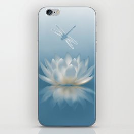 Blue Lotus and Dragonfly iPhone Skin