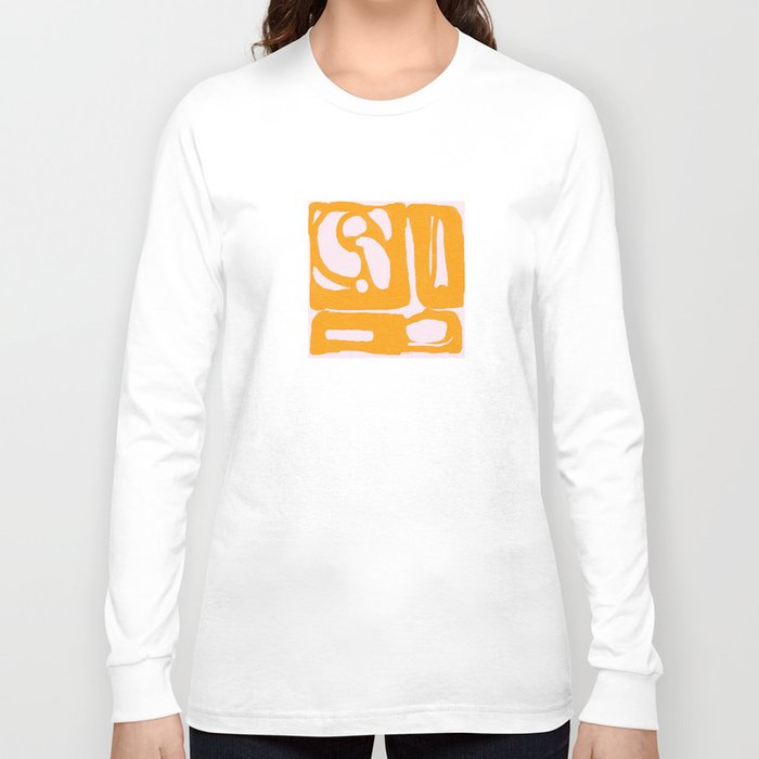 Abstract in Yellow and Cream Long Sleeve T-shirt