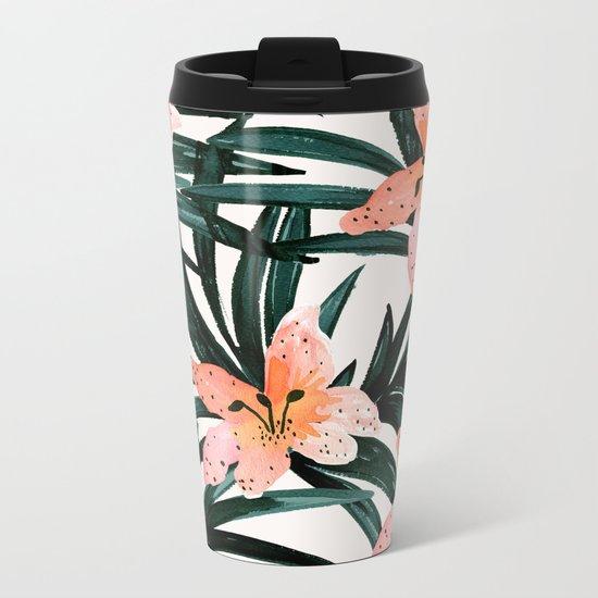 Tiger Lily Tropical Metal Travel Mug