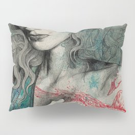SGNL>05 (seminude street art portrait, topless lady with swan tattoo) Pillow Sham
