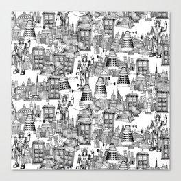 Doctor Who Toile de Jouy | 'Walking Doodle' | Black Canvas Print
