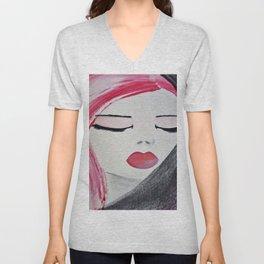 Shy Girl. Abstract Pink Girl. Pink Lips. Pink Hair. Jodilynpaintings. Eyelashes. Gift for All Girls. Unisex V-Neck