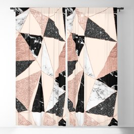 Modern black white marble rose gold glitter foil geometric abstract triangles pattern Blackout Curtain