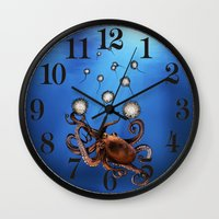 octopus Wall Clocks featuring Octopus by Anna Shell