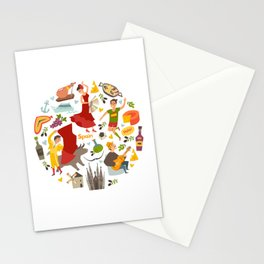 Spain, touristic symbols vector. Colorfull hand drawn illustration Stationery Cards