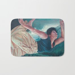 God's Orchestra, oil painting portrait of woman flying, lighthouse, dress, strong powerful woman Bath Mat