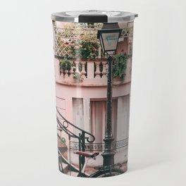 Bike in Paris Pink City Photography  Travel Mug