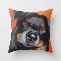 rottweiler Throw Pillows featuring Rottweiler by Stanley Arts