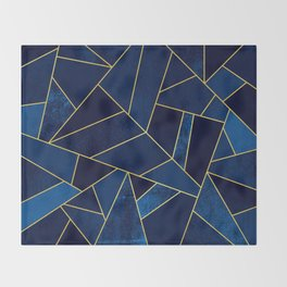 Blue stone with yellow lines Throw Blanket
