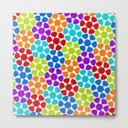 Multi-Coloured Flower Pattern Metal Print