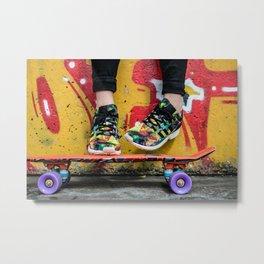 skateboard yellow red Metal Print