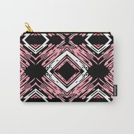 Pink + Black Diamond Horizontal Pattern Carry-All Pouch