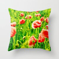 poppies Throw Pillows featuring Poppies by Falko Follert Art-FF77