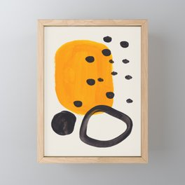 Unique Abstract Unique Mid century Modern Yellow Mustard Black Ring Dots Framed Mini Art Print