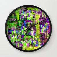 boyfriend Wall Clocks featuring BOYFRIEND SWEATS(violet & lime) by Glint & Lime Art