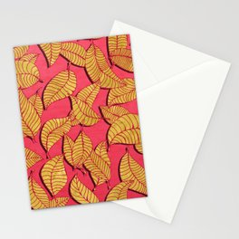 Golden tree leaves pink Stationery Cards