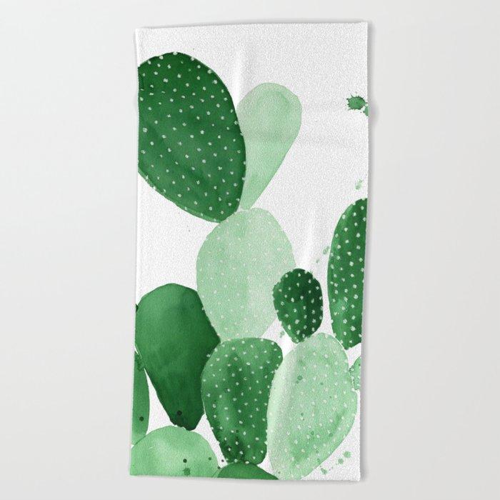 Green Paddle Cactus II Beach Towel