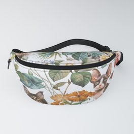 Cat and Floral Pattern III Fanny Pack