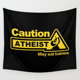 Caution - Atheist Wall Tapestry