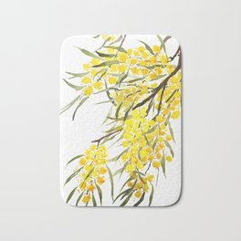 Godlen wattle flower watercolor Bath Mat