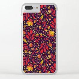 Saturated Red, Yellow & Orange & Dark Navy Blue Floral Pattern Clear iPhone Case