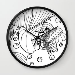 Hummingbird Flower(from Shrooms and Blooms) Wall Clock
