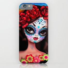Dia De Los Muertos Girl on Sarape iPhone Case
