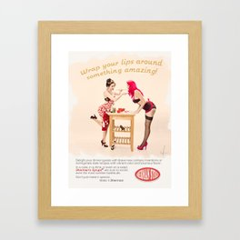 """Sherman Syrups"" - The Playful Pinup - 50s Advertisement Parody Pin-up Girls by Maxwell H. Johnson Framed Art Print"