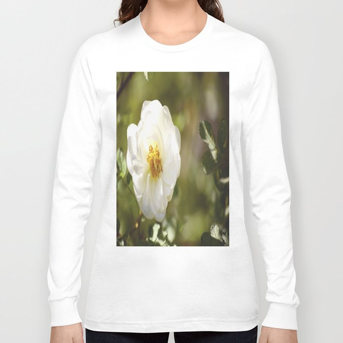 Summer White Rose On A Green Background #decor #society6 Long Sleeve T-shirt