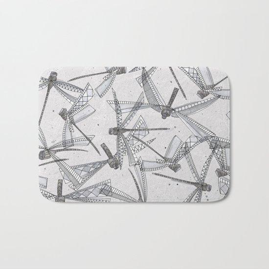watercolor dragonflies silver Bath Mat