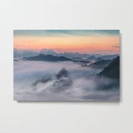 Fog and Mountains Metal Print