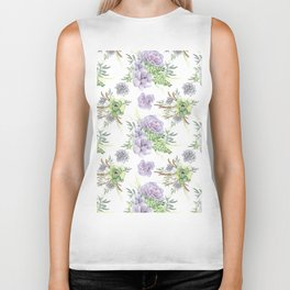 Desert Succulents Purple and Green Biker Tank