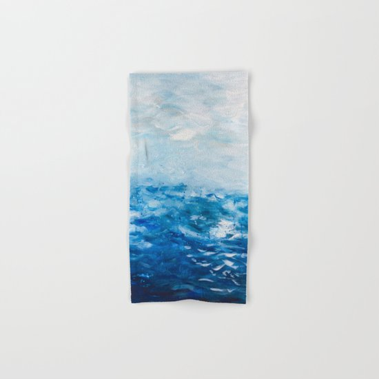 Paint 10 abstract water ocean seascape modern painting dorm room decor affordable stretched canvas Hand & Bath Towel