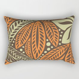 Cream orange retro colored Polynesian floral tattoo design Rectangular Pillow