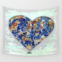 furry Wall Tapestries featuring FURRY LOVE by Adka