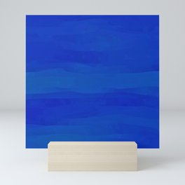 Subtle Cobalt Blue Waves Pattern Ombre Gradient Mini Art Print