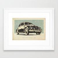 volkswagon Framed Art Prints featuring Volkswagon Beetle - 1957 by dooderwear
