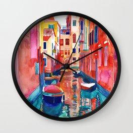 Venice Street with boats Wall Clock