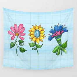 Three Dancing Flowers Wall Tapestry
