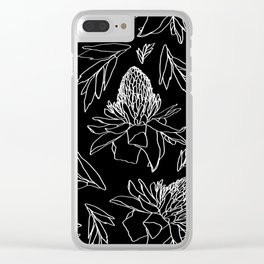 Tropical Ginger Plants in Black + White Clear iPhone Case