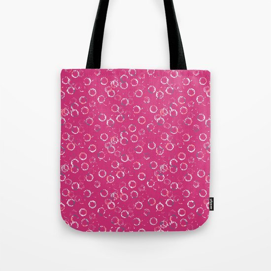 Polka Dots Stamps on Pink Yarrow Tote Bag