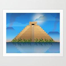Polygonal Scenery 01 : The Maya Pyramid Art Print
