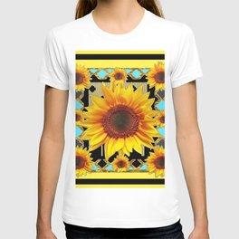 Western Black & Yellow Sunflowers Deco Art T-shirt