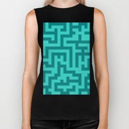 Teal and Turquoise Labyrinth Biker Tank