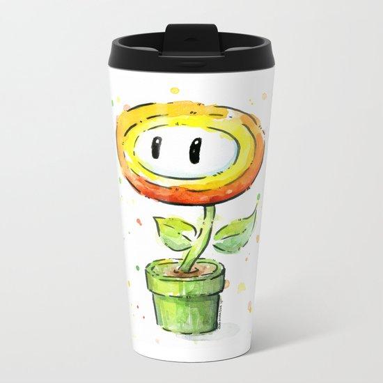 Fire Flower Watercolor Painting Mario Game Geek Art Metal Travel Mug