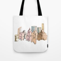 the city painted in pastel colours Tote Bag